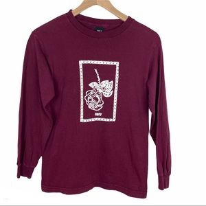 Obey Long Sleeve Maroon T Shirt with Rose Graphic